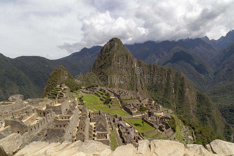 Machu Picchu and Huayna Picchu mountain in Peru, seen from the door of the sun. Background, cusco, tree, cloud, forest, culture, america, landmark royalty free stock photography
