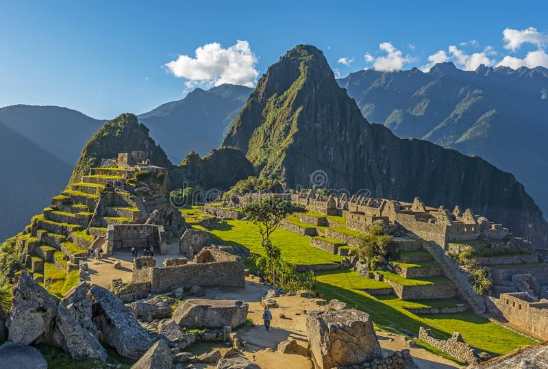 Machu Picchu Inca Ruin på solnedgången, Cusco landskap, Peru royaltyfri bild