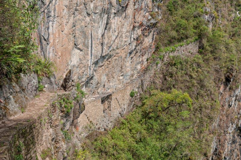 Machu Picchu the Inka Bridge stock photo