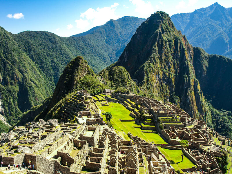 Machu Picchu - lost city of Incas. Historical citadel above Sacred Valley with Urubamba River in Peru royalty free stock photo