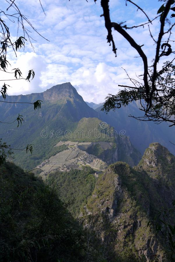 Machu Picchu magical lost city of the Incas. General view from the trail at Machu Picchu Peru perched high on a mountain summit royalty free stock images