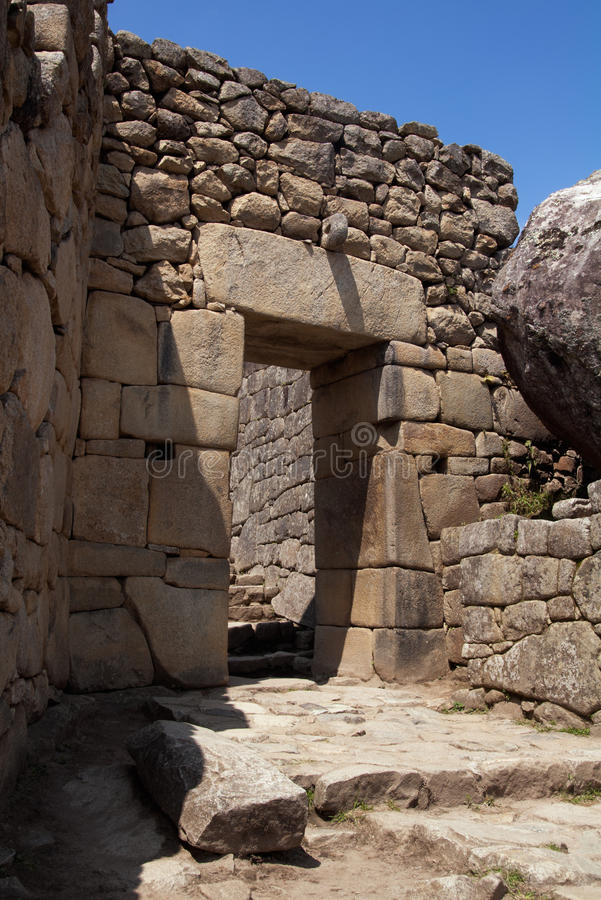 Machu Picchu main gate. The main entrance gate to Machu Picchu seen from the inside royalty free stock photos