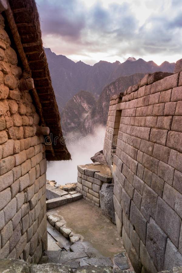 Machu Picchu in the morning mist royalty free stock photos