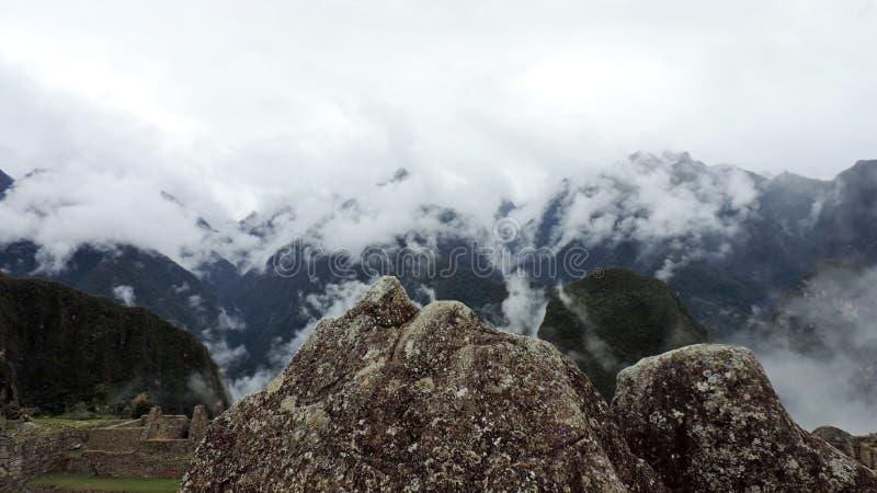 Machu Picchu mountain miniature in stone. A miniature mountain carved in stone by the Incas in Machu Picchu, Peru stock photo