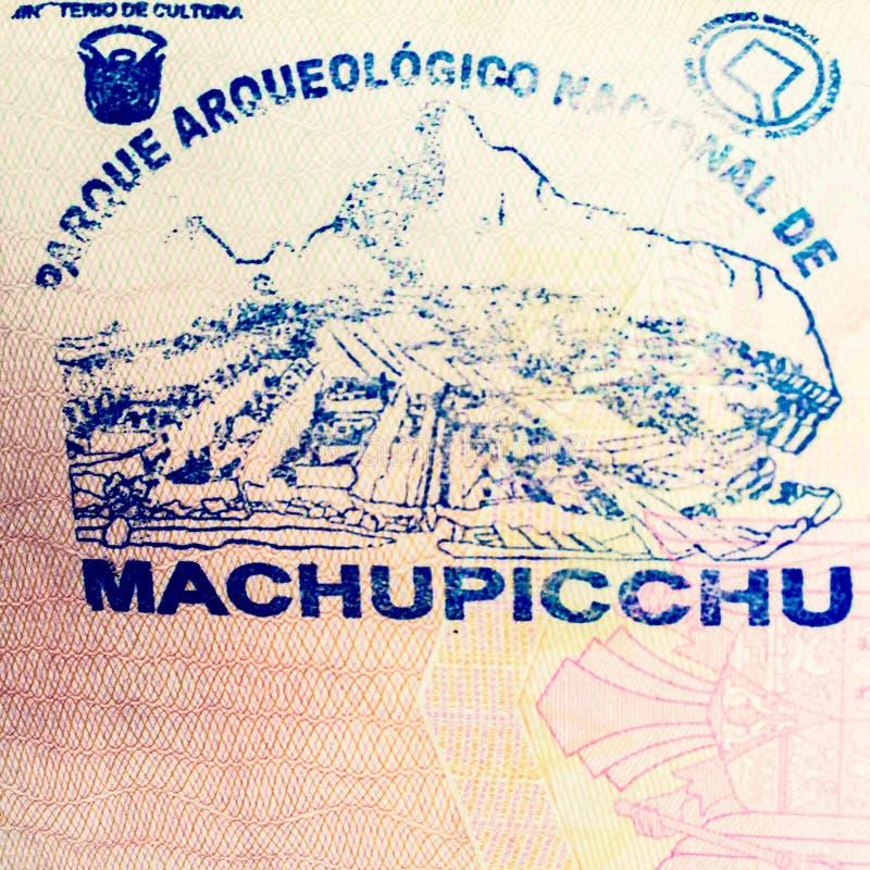 Machu Picchu passstämpel royaltyfri bild