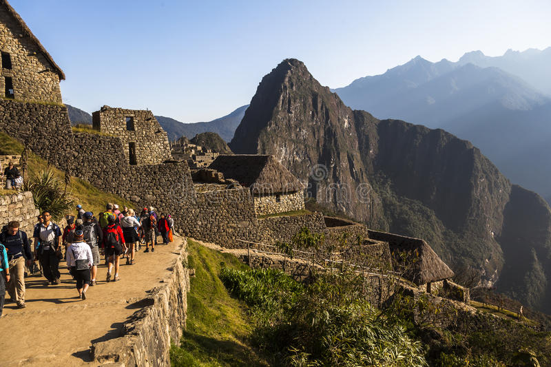 MACHU PICCHU, PERU, AUGUST 12: Machu Picchu, was designed Peruvian Historical Sanctuary in 1981 and a World Heritage Site by royalty free stock photography