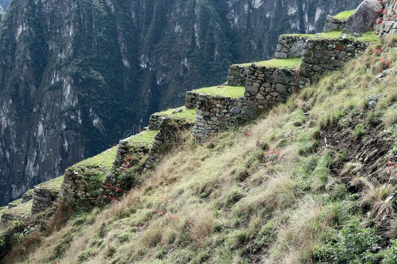 Machu Picchu Peru Details. UNESCO World Heritage Site in Latin America and the Caribbean. Machu Picchu is a 15th-century Inca citadel situated on a mountain royalty free stock images