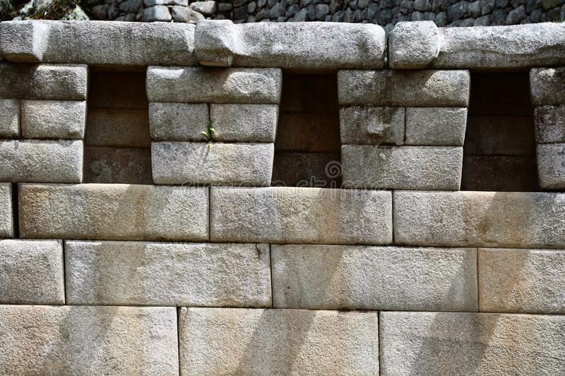 Machu Picchu Peru Details. UNESCO World Heritage Site in Latin America and the Caribbean. Machu Picchu is a 15th-century Inca citadel situated on a mountain royalty free stock photography