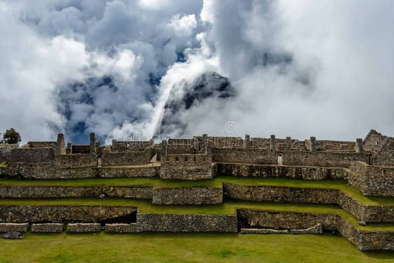Machu Picchu, ancient archeological site, wall construction details,Peru stock image