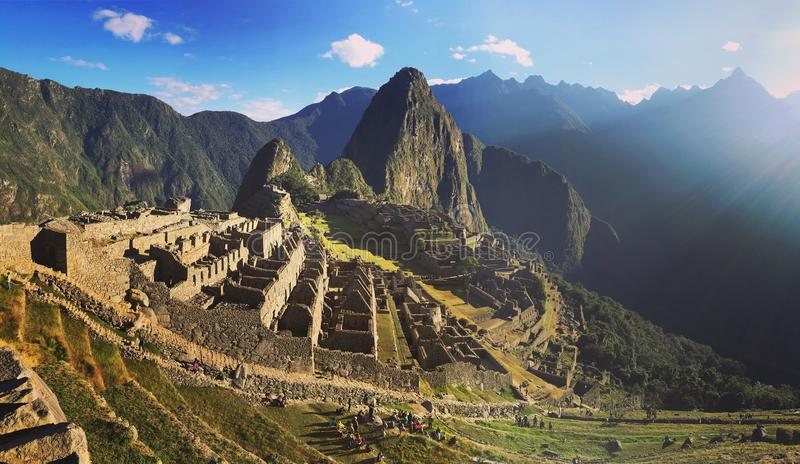 Machu Picchu Peru. Morning at Machu Picchu Inca Ruins royalty free stock photo