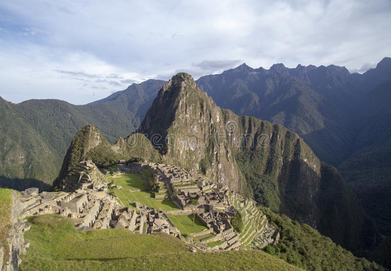 Machu Picchu, Peru - Ruins of Inca Empire city and Huaynapicchu Mountain, Sacred Valley. Indigenous, cusco, cloud, forest, architecture, scenic, culture stock photo
