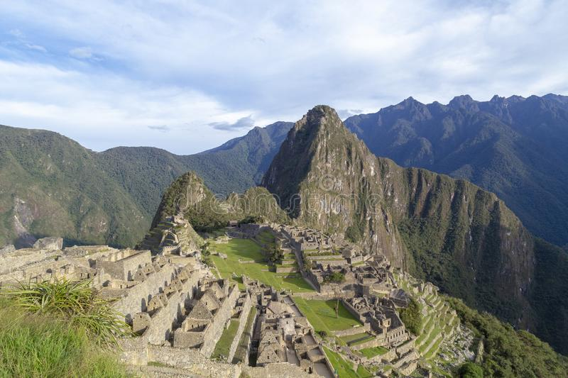 Machu Picchu, Peru - Ruins of Inca Empire city and Huaynapicchu Mountain, Sacred Valley. Indigenous, cusco, cloud, forest, architecture, scenic, culture stock image