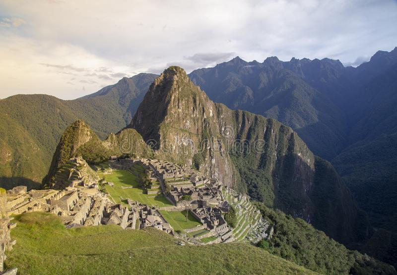 Machu Picchu, Peru - Ruins of Inca Empire city and Huaynapicchu Mountain, Sacred Valley. Indigenous, cusco, cloud, forest, architecture, scenic, culture royalty free stock photos