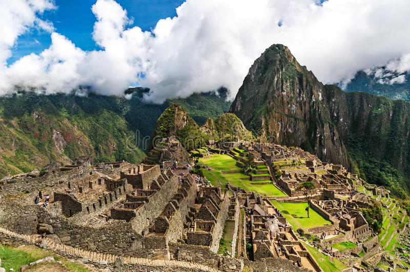 Machu Picchu, a Peruvian Historical Sanctuary in 1981 and a UNESCO World Heritage Site in 1983. One of the New Seven Wonders of th royalty free stock photography