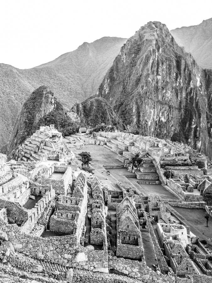 Machu Picchu - lost city of Incas. Historical citadel above Sacred Valley with Urubamba River in Peru stock photo