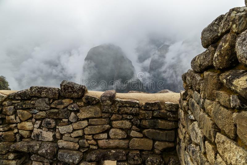 Machu Picchu, ancient archeological site, wall construction details,Peru stock photography