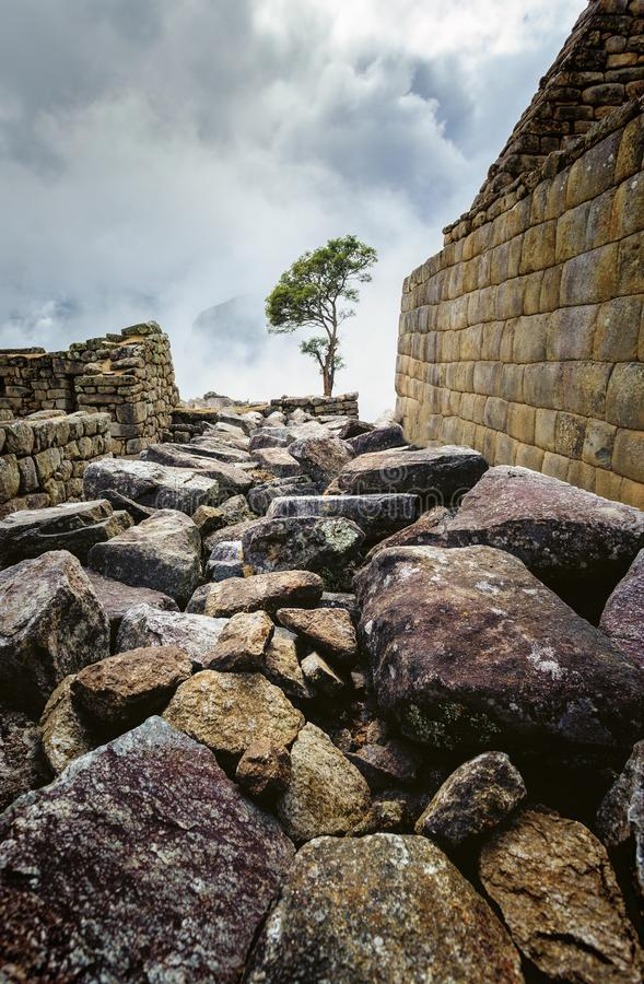 Machu Picchu, ancient archeological site, wall construction details,Peru stock photos