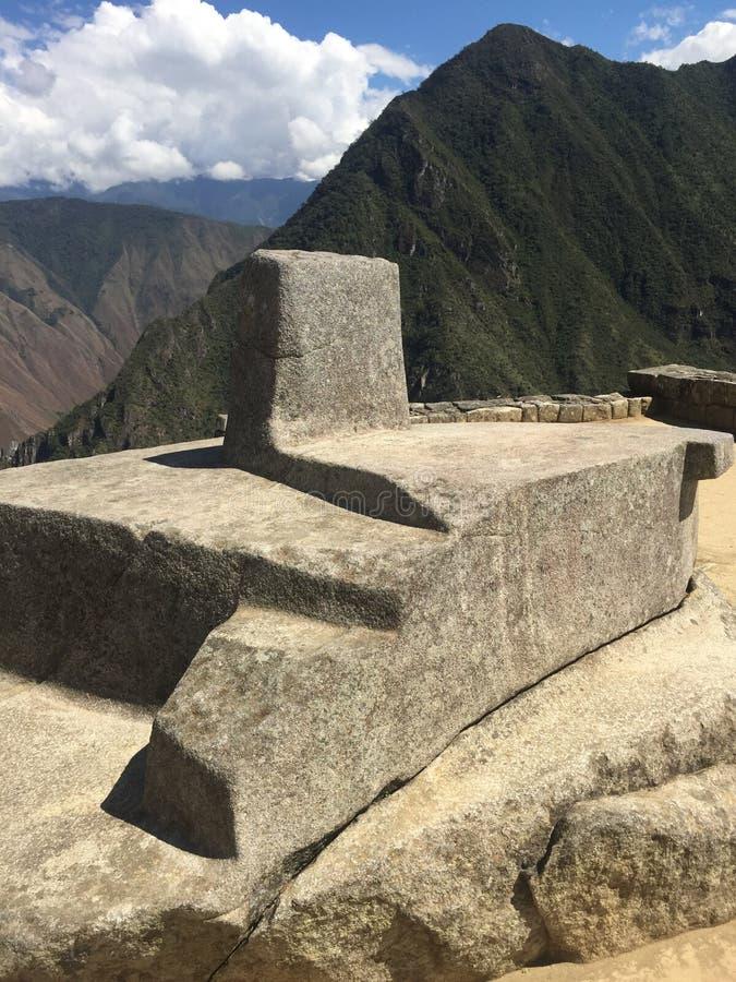 Machu Picchu Sundial, Peru royalty free stock photography