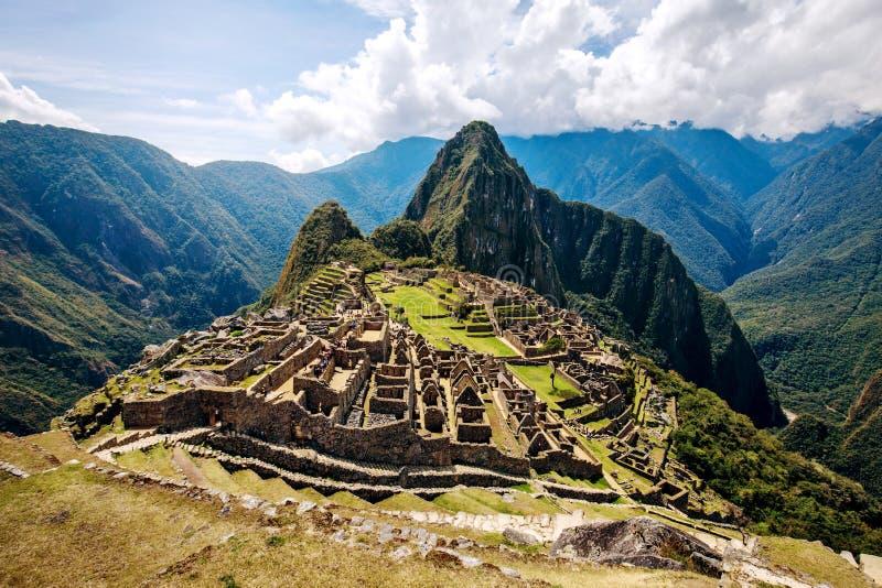 Machu Picchu UNESCO rujnuje panoramę fotografia stock