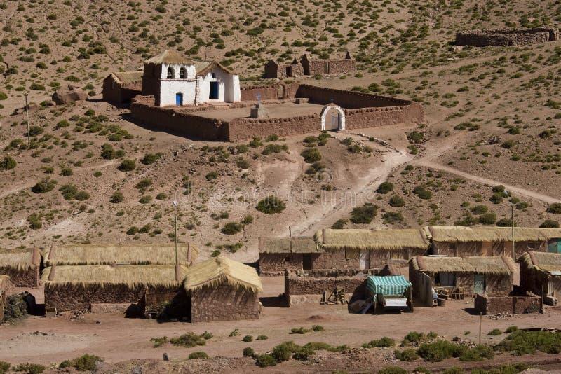 Machuca Village - Atacama Desert - Chile. Adobe church above Machuca Village in the Atacama Desert in Northern Chile stock image