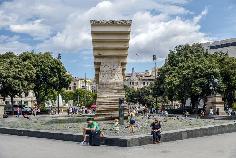 Macia zabytek w placu Cataluna fotografia royalty free