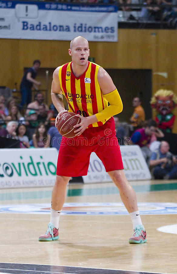 Maciej Lampe. Of FCB in action at Spanish ACB Basketball League match between Joventut Badalona and FC Barcelona, final score 74-80, on May 30, 2015, in royalty free stock images