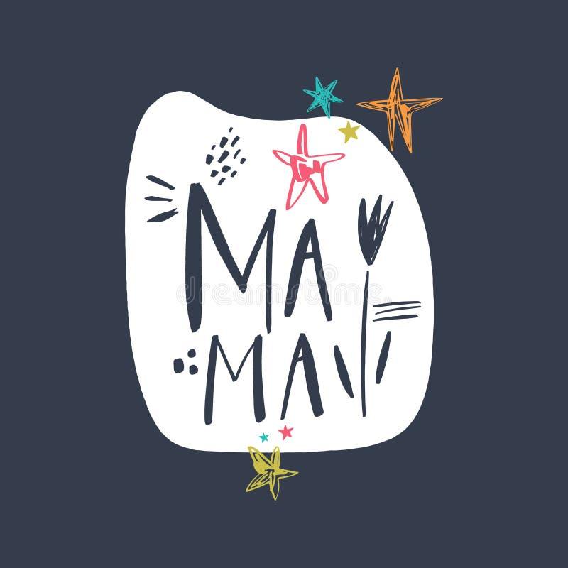 Macierzyńska handdrawn literowanie inskrypcja Mama tekst Elegancki plakat lub poczt?wka wektor ilustracja wektor