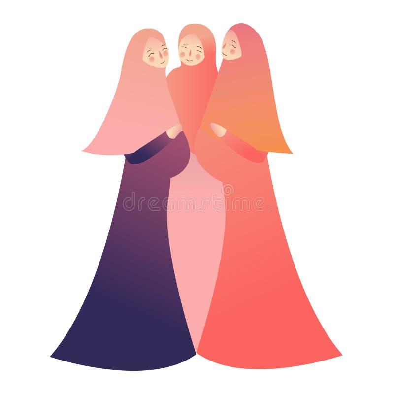 Macierzyński pojęcie Portret trzy szczęśliwego kobieta w ciąży Islam jest ubranym przesłony hijab royalty ilustracja