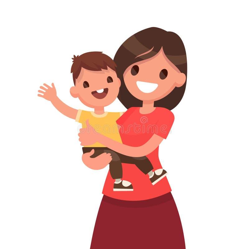 macierzyństwo Matka z dzieckiem na białym tle Wektorowa bolączka royalty ilustracja