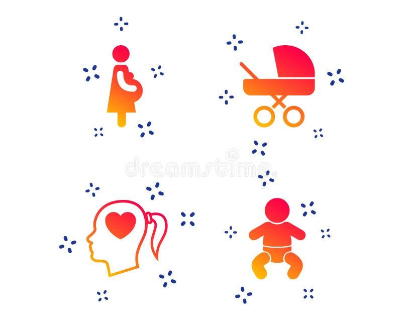 Macierzy?skie ikony Dziecko niemowlak, brzemienno??, powozik wektor ilustracji