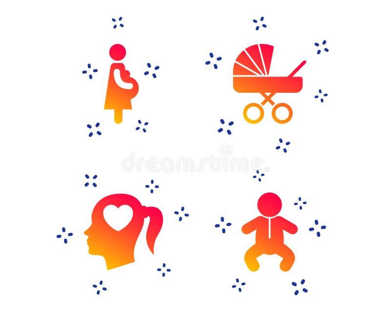 Macierzy?skie ikony Dziecko niemowlak, brzemienno??, powozik wektor royalty ilustracja