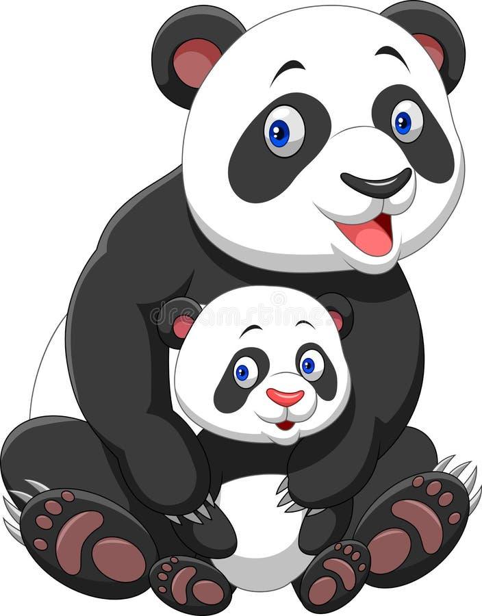 macierzysta dziecko panda royalty ilustracja