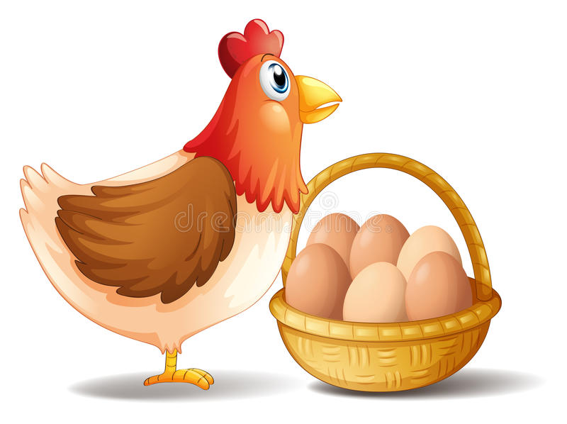 Macierzysta karmazynka i kosz jajka ilustracja wektor