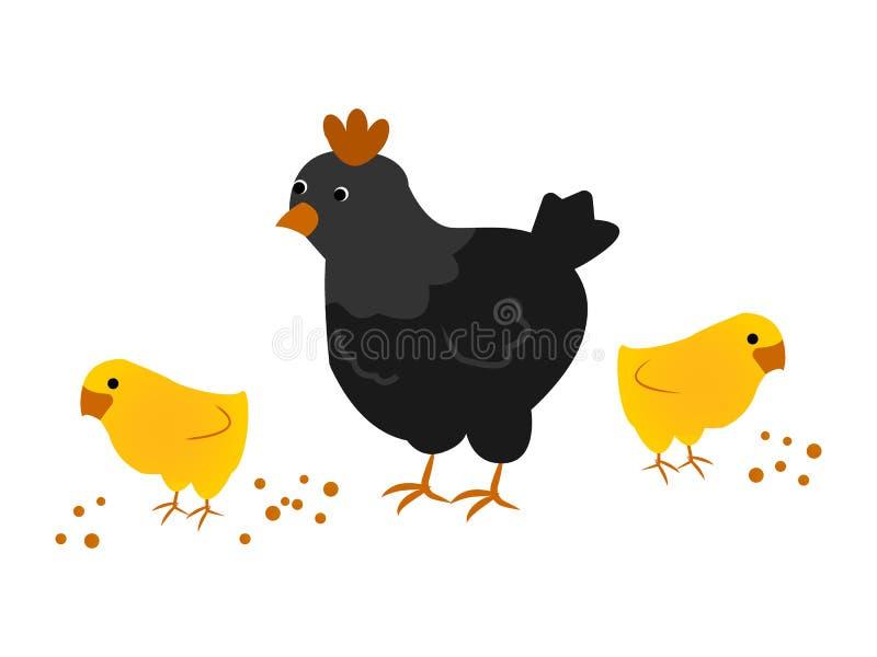Macierzysta karmazynka z kurczakami royalty ilustracja