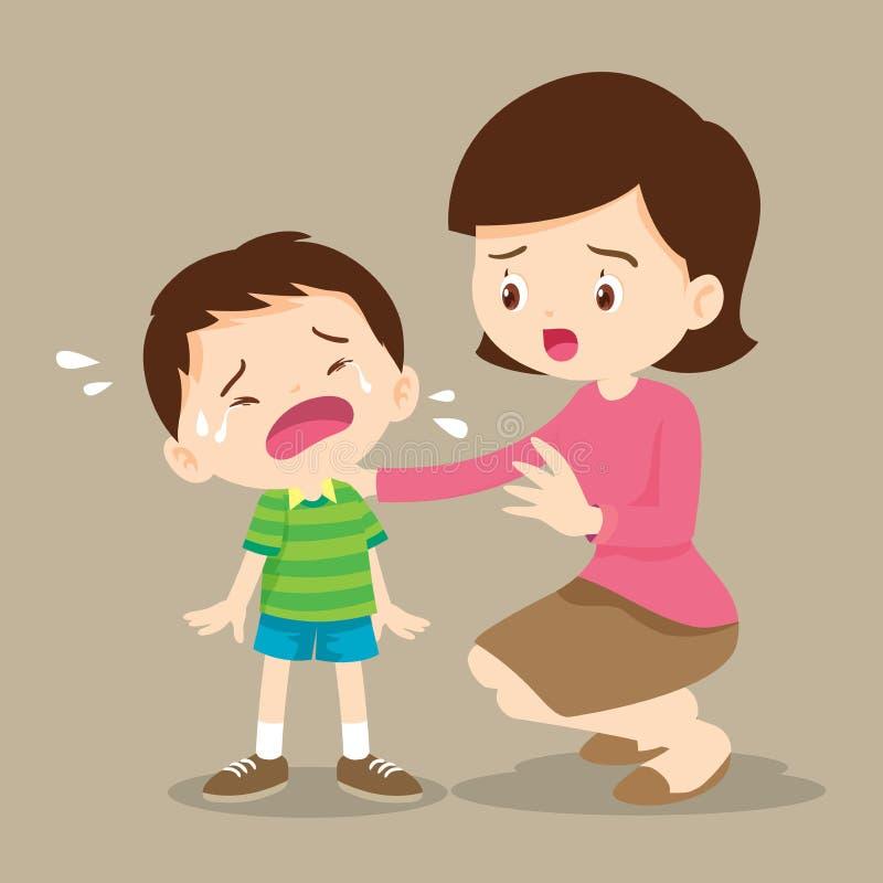 Macierzysta Pociesza płacz chłopiec Smutni dzieci chcą obejmować ilustracji