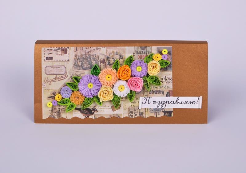 Macierzysta ` s dnia karta z kwiatami obrazy royalty free
