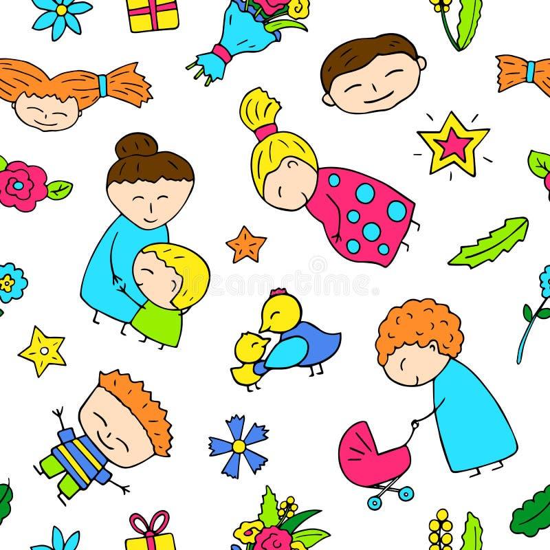 Macierzystego dnia szczęśliwi dzieci i mama bezszwowy wzór ilustracja wektor