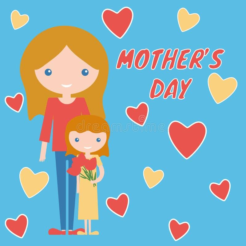 Macierzystego dnia sztuki projekta córka z kwiatami i mama ilustracja wektor