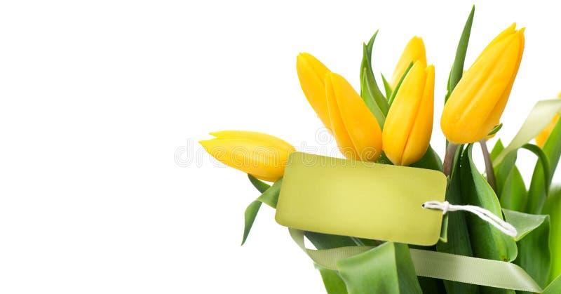 Macierzystej ` s dnia wakacyjnej wiosny żółci tulipany kwitną wiązkę z pustym kartka z pozdrowieniami Piękny tulipan kwitnie buki fotografia royalty free