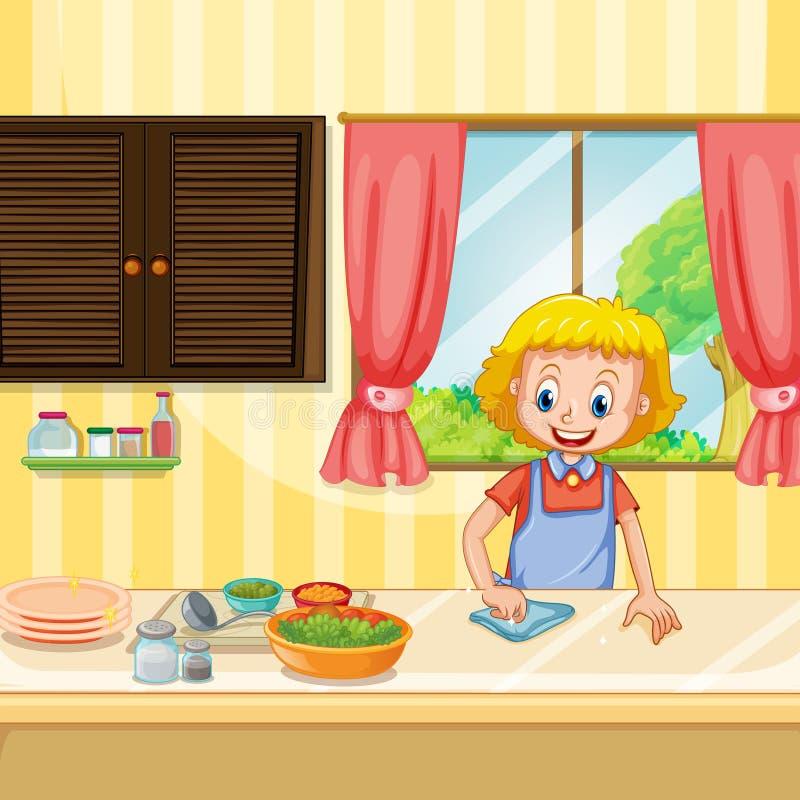 Macierzysty Cleaning i narządzania jedzenie w kuchni royalty ilustracja