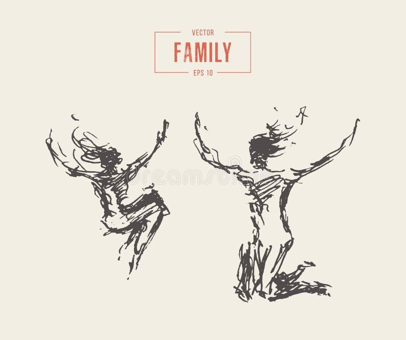 Macierzysty dziecko skacze Szczęśliwego rodzinnego wektorowego nakreślenie ilustracja wektor