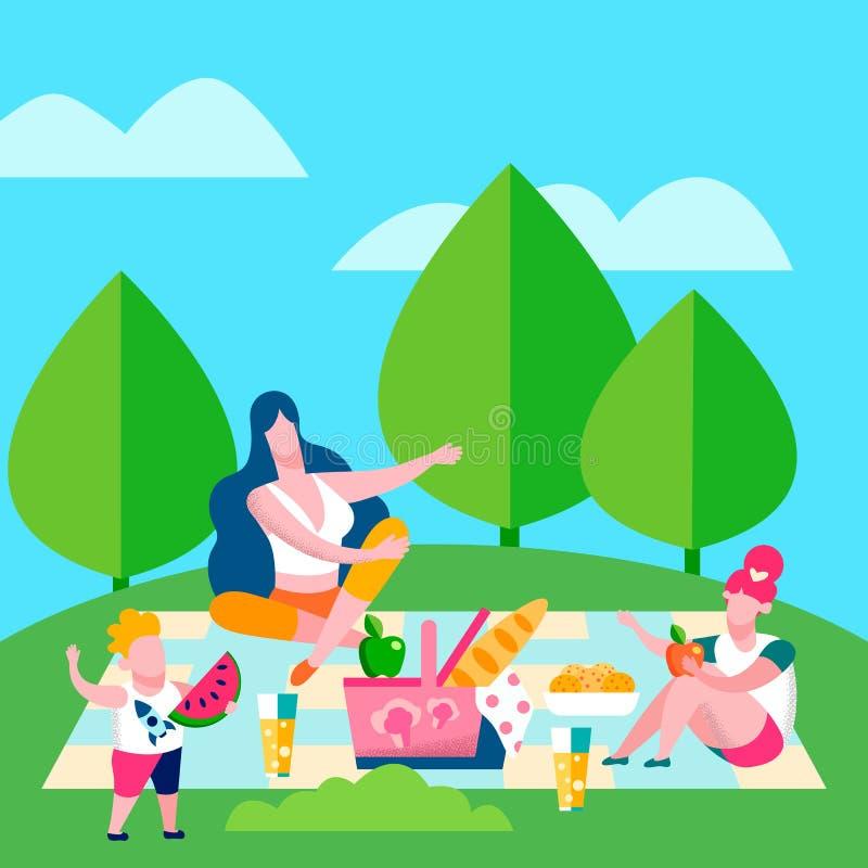 Macierzysty i dzieciaki pinkin, Płaska Wektorowa ilustracja ilustracja wektor