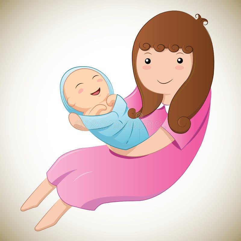 Macierzysty i dziecko jej wektor ilustracji