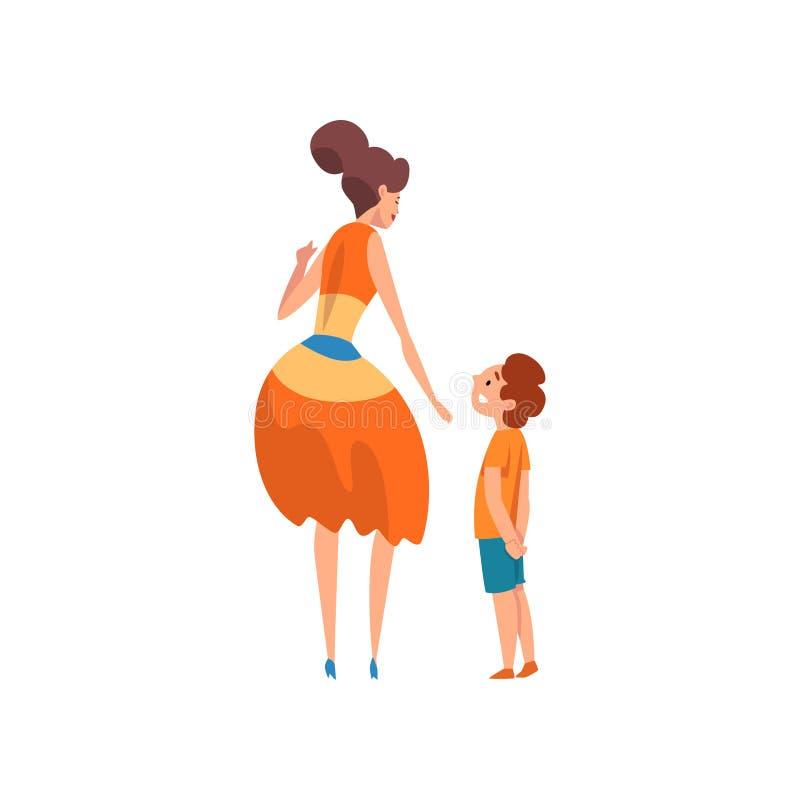 Macierzysty i jej synu, tylny widok, matka ma dobrego czas z jej dzieciakiem, szczęśliwa rodzina, wychowywa pojęcie wektor royalty ilustracja