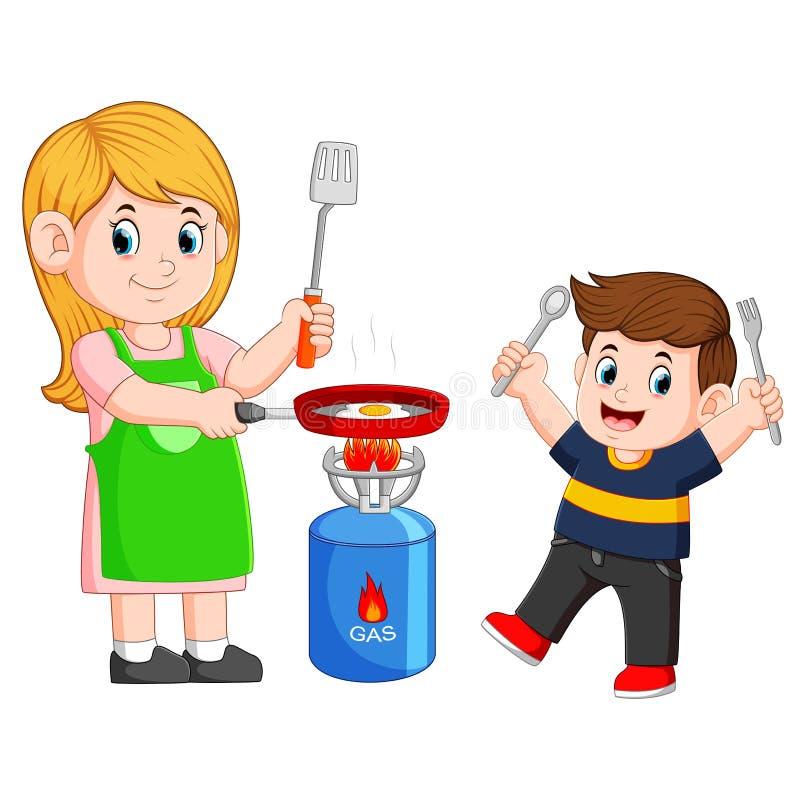 Macierzysty i syn jej kulinarny jajko z smażyć ilustracja wektor