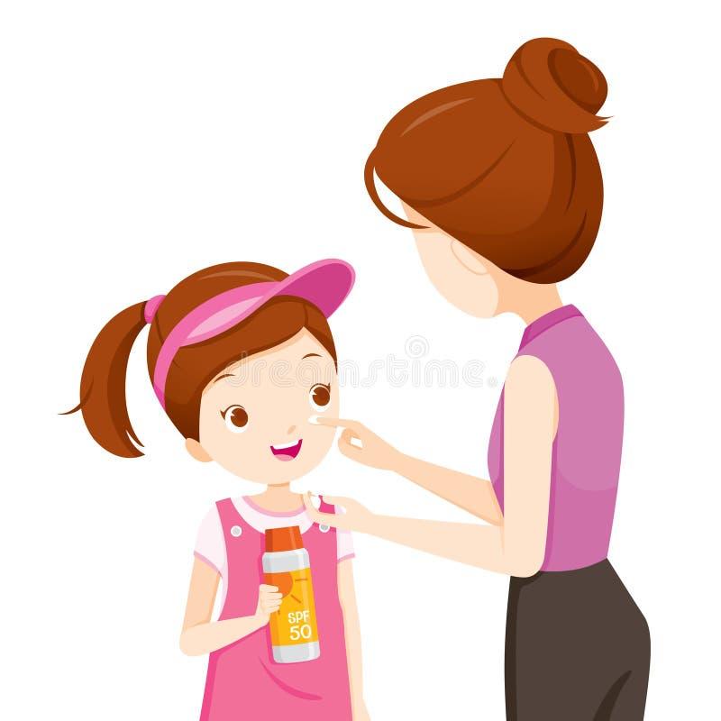 Macierzysty Jest ubranym Sunscreen Na córki twarzy ilustracji