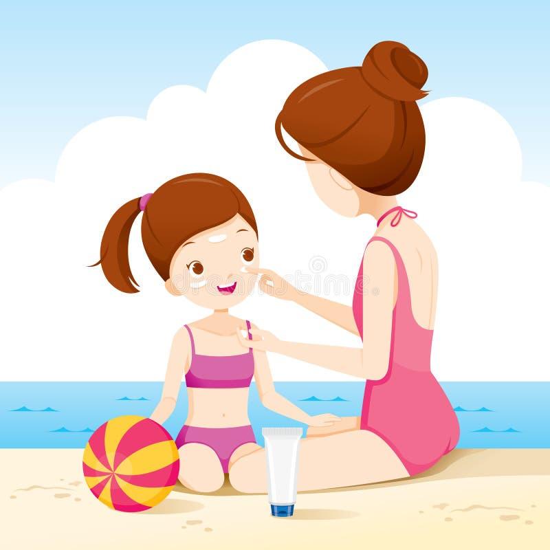 Macierzysty Jest ubranym Sunscreen Na córki twarzy Na plaży royalty ilustracja