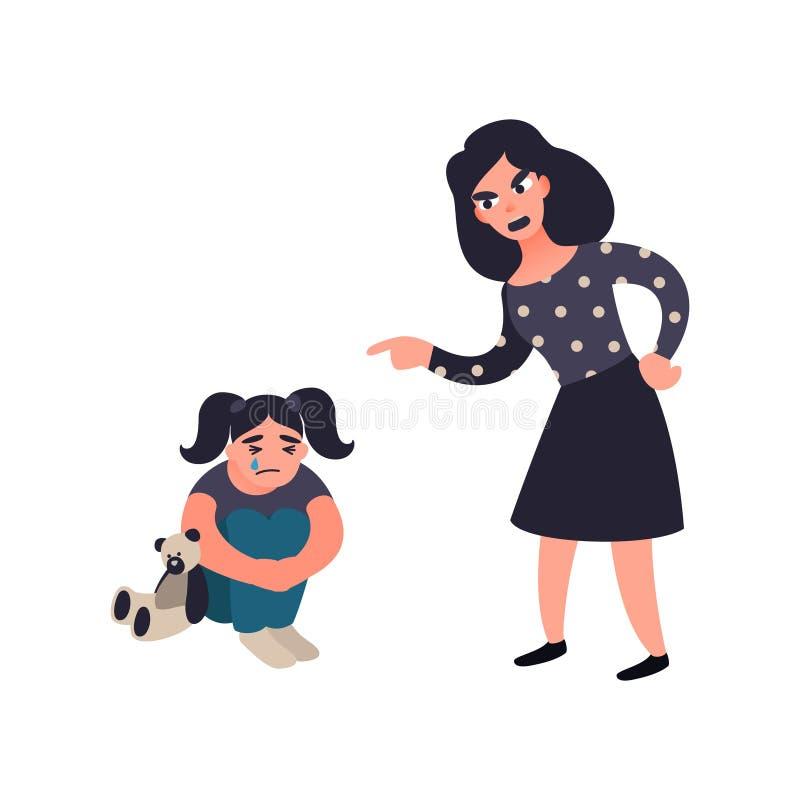 Macierzysty karzący jej małej smutnej płacz córki Mama łaja jej dziecka Mylna edukacja Domowy konfliktu pojęcie royalty ilustracja