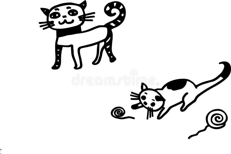 Macierzysty kot z jej dziecko kiciunią fotografia stock