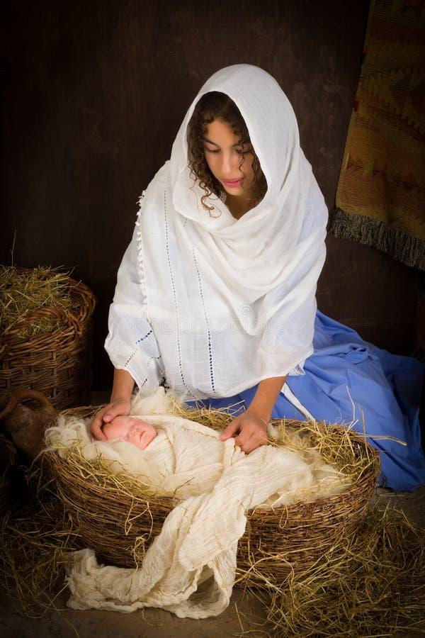 Macierzysty Mary w narodzenie jezusa scenie zdjęcie stock
